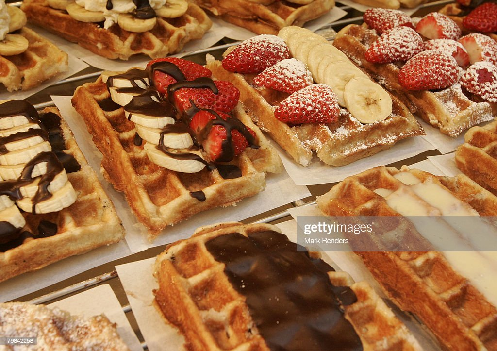 Belgian waffles are seen near la Grande Place on February 19, 2008 in Brussels, Belgium.
