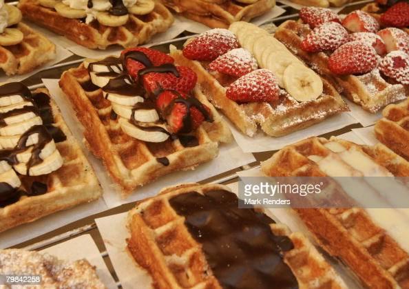 Belgian waffles are seen near la Grande Place on February 19 2008 in Brussels Belgium