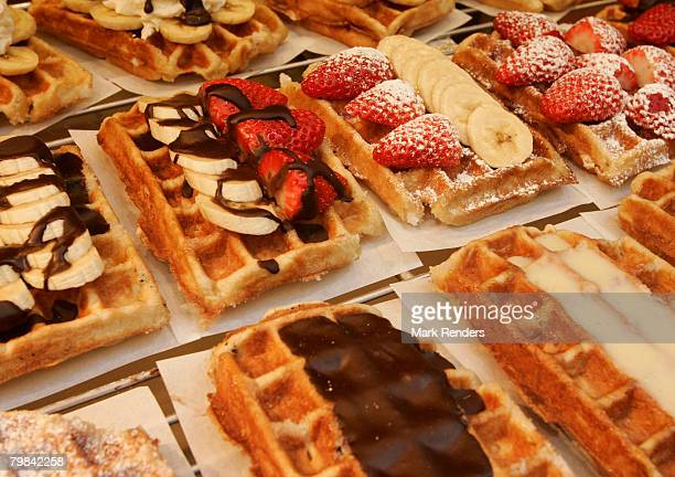 Belgian waffles are seen near la Grande Place on February 19 2008 in Brussels Belgium