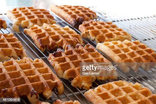Belgian waffles on display