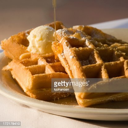 Belgian Waffles with Butter and Syrup