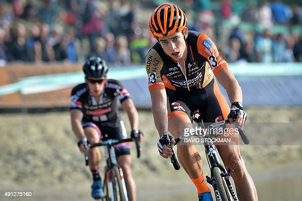 Belgian Wout Van Aert competes during the first stage of the Superprestige cyclocross cycling competition on October 4 in Gieten AFP PHOTO / BELGA...