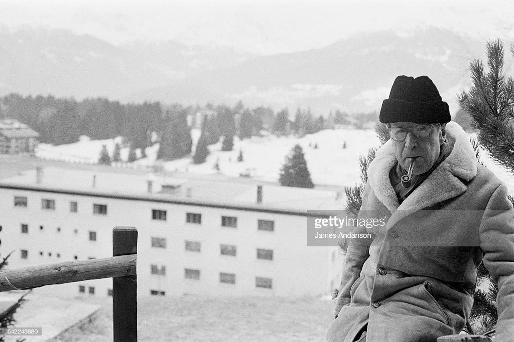 Belgian writer Georges Simenon on holiday in CranssurSierre