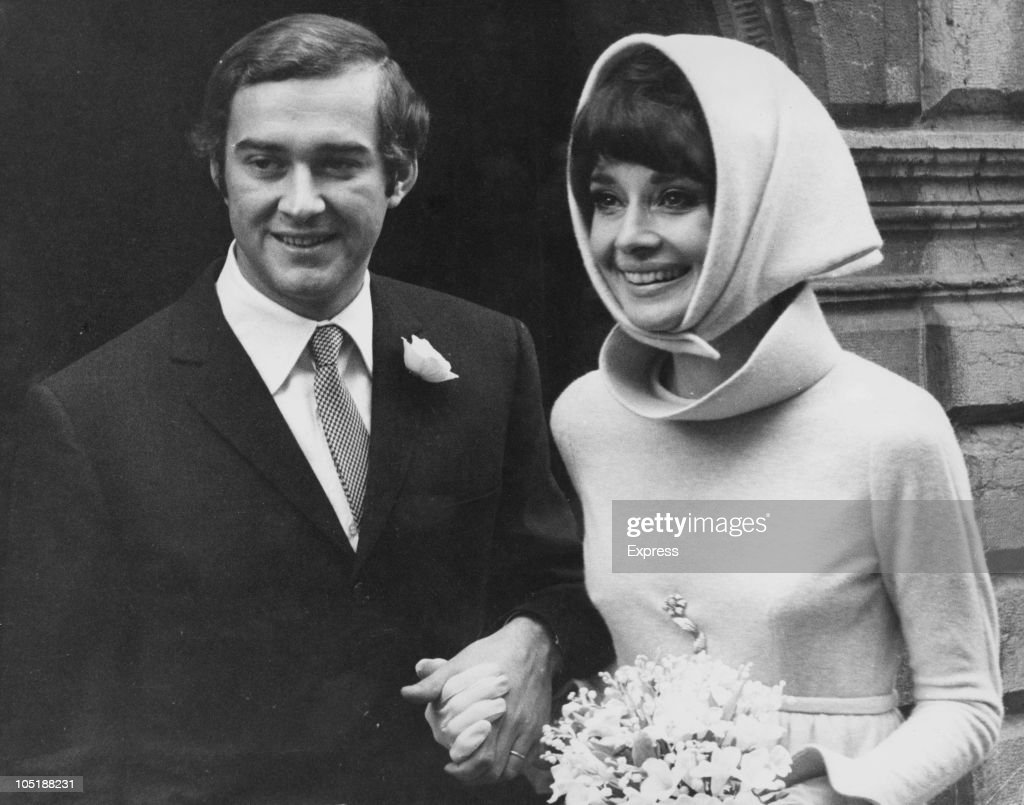 Belgianborn actress Audrey Hepburn with her second husband Italian psychiatrist Andrea Dotti after their wedding Morges Switzerland 18th January 1969