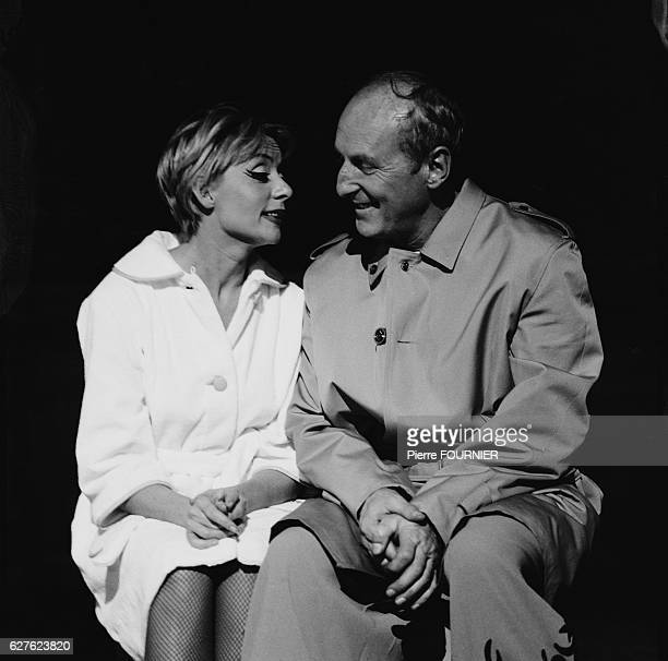 Belgianborn singer and actress Annie Cordy and French actor Bourvil perform in the musical Ouah Ouah on the stage of the Alhambra Theater in Paris