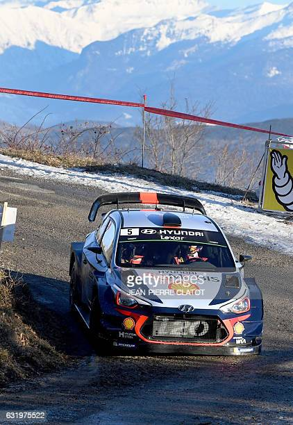 Belgian's driver Thierry Neuville and his copilot Nicolas Gilsoul steer their Hyundai I 20 on January 18 2017 in Gap southeastern France during the...