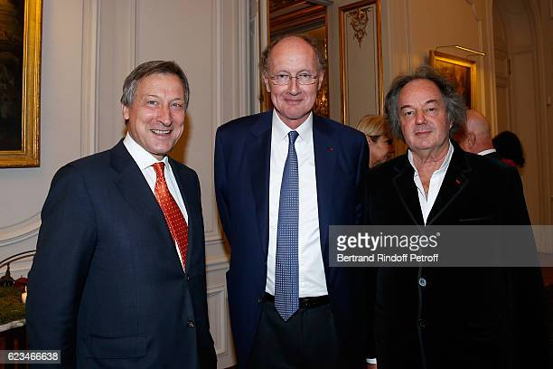 Belgium Ambassador to France Vincent Mertens de Wilmars Yves de Gaulle and Gonzague Saint Bris attend the Reception for the 'King of Belgians Day' at...