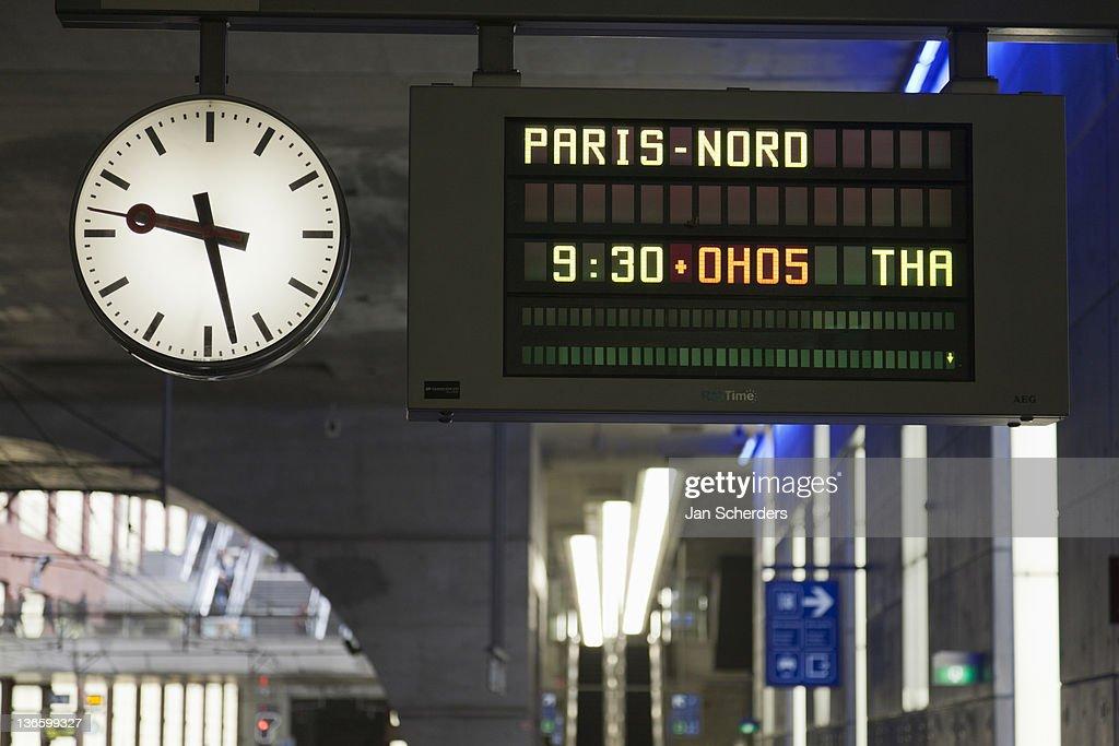 Belgium, Antwerpen, Arrival-departure board in train station
