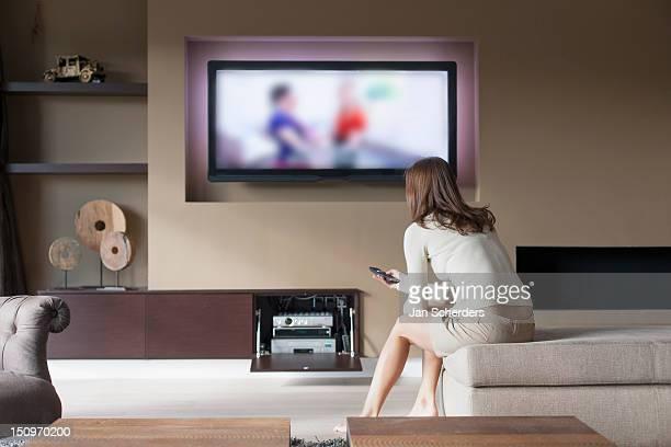 Belgium, Antwerpen, Woman watching television