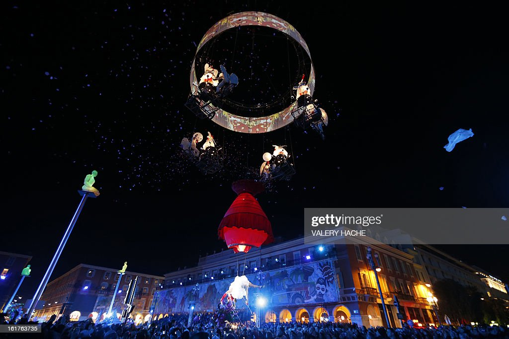 Belgium artists takes part in the Nice Carnival parade on February 15, 2013 in Nice, southeastern France. The Carnival, starting from February 15 until March 6, 2013, will celebrate the 'King of the five continents' marking the 140th anniversary of the French Riviera Nice carnival.