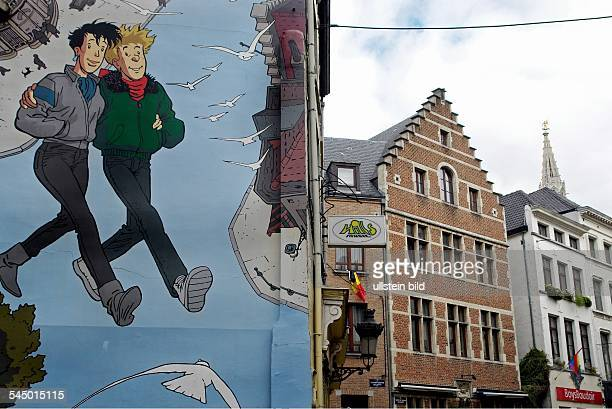 Belgium Bruessel Brussels mural showing characters of The Adventures of Tintin