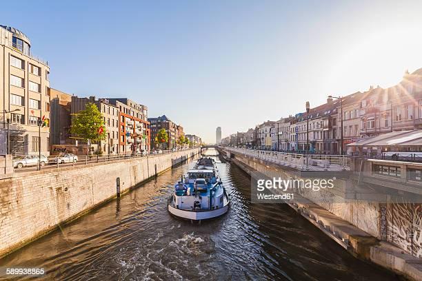 Belgium, Brussels, Charleroi Canal, cargo ship