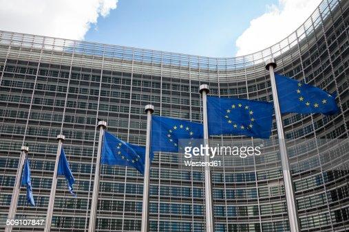 Belgium, Brussels, European Commission, European flags at Berlaymont building
