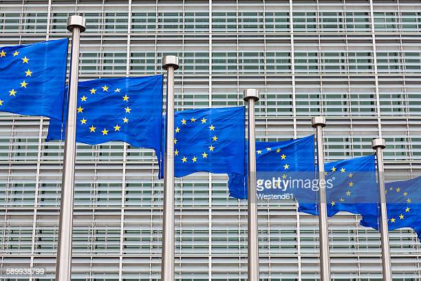 Belgium, Brussels, European Commission, European flags at Berlaymont building