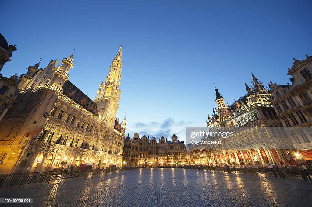Belgium, Brussels, Grand Place, town hall, dusk, low angle view