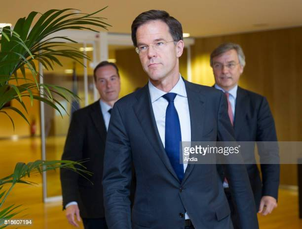 Prime Minister of the Netherlands Mark Rutte arriving at the Berlaymont Palace for a meeting on Brexit with the President of the European Commission