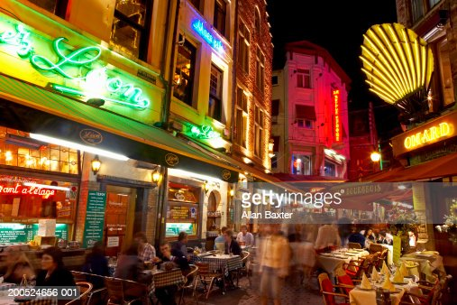 Belgium, Brussels, Petite Rue des Bouchers, street restaurants, dusk : Stock Photo