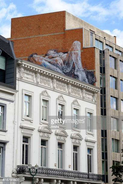 Belgium Brussels town of SaintGilles on daring frescos on walls of the town An unknown street artist painted sexual frescos on walls of the city Here...