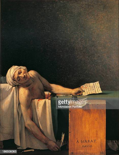 Belgium Bruxelles Musées Royaux d'Art et d'Histoire Whole artwork view Marat's lifeless body is lying in a bathtub He holds in his hand a letter and...