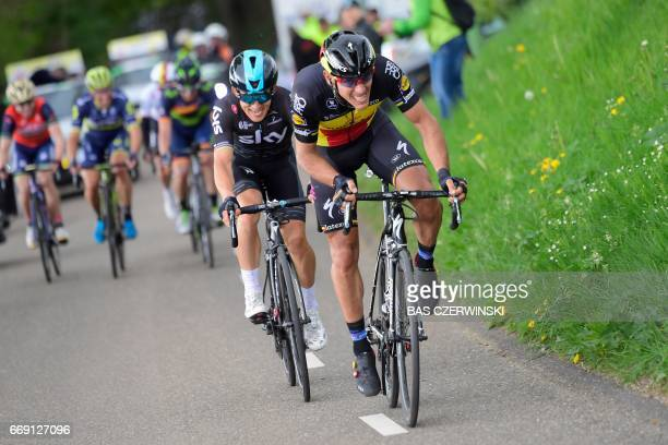 Belgium cyclist Philippe Gilbert of team Quick Step Floors and Polish cyclist Michal Kwiatkowski of team Sky compete during the Amstel Gold Race...