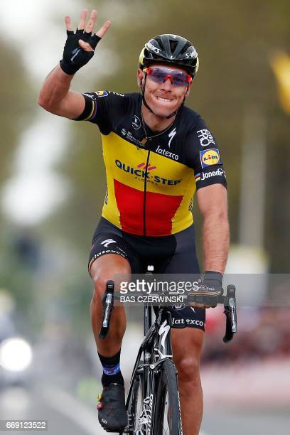 Belgium cyclist Philippe Gilbert of team Quick Step Floors celebrates after winning for the forth time the Amstel Gold Race classic on April 16 2017...