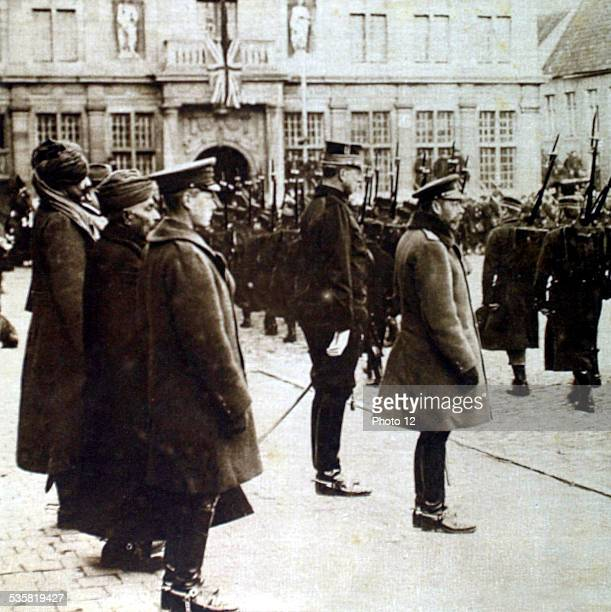 Belgium December 1914 World War I George V of England and Albert I of Belgium passing a Belgian regiment in review