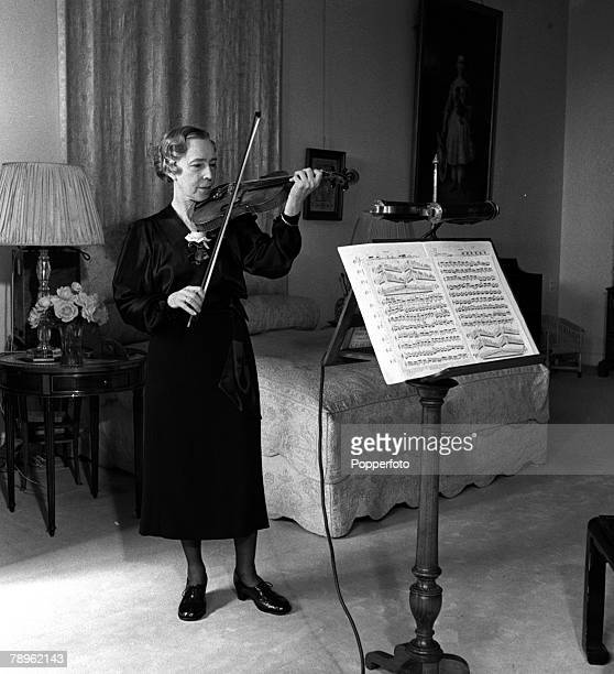 Belgium Elisabeth Queen Mother of the Belgians is pictured in her private quarters of the Laeken Palace Brussels