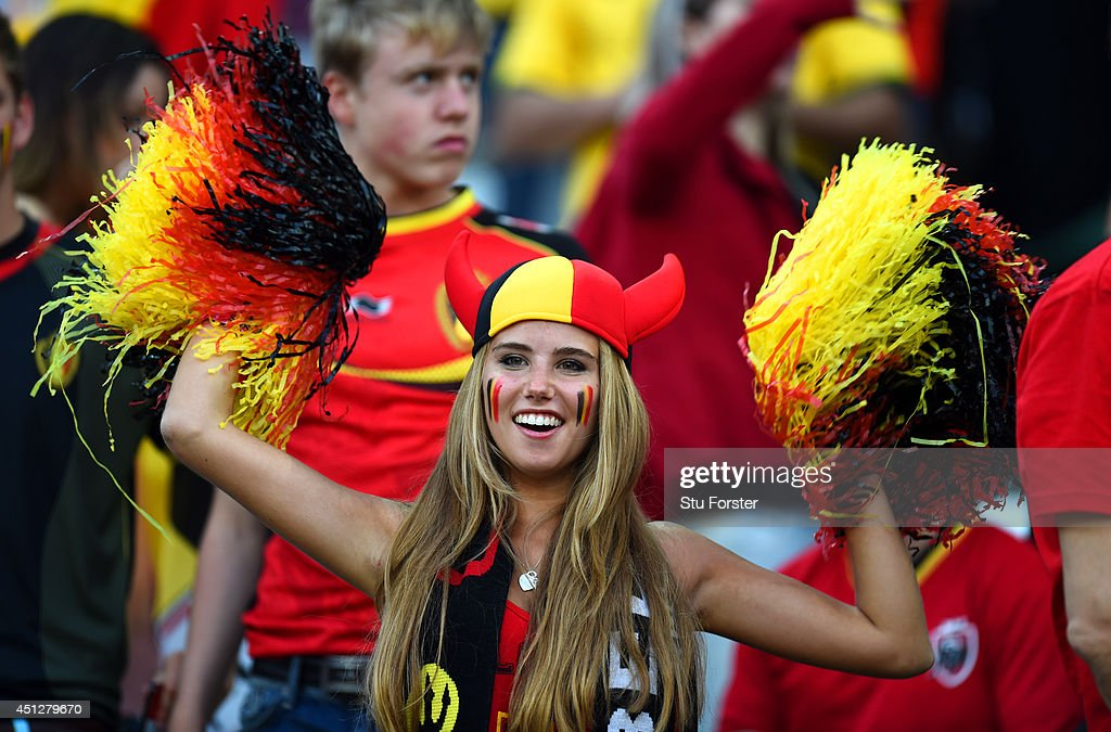 A Belgium fan cheers during the 2014 FIFA World Cup Brazil Group H match between South Korea and Belgium at Arena de Sao Paulo on June 26, 2014 in Sao Paulo, Brazil.