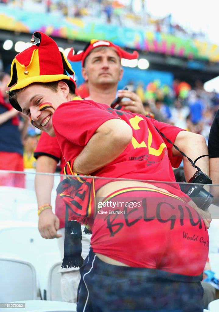 Belgium fan poses during the 2014 FIFA World Cup Brazil Group H match between South Korea and Belgium at Arena de Sao Paulo on June 26 2014 in Sao...