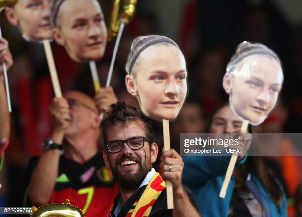 Belgium fan with a mask of Elke Van Gorp of Belgium during the UEFA Women's Euro 2017 Group A match between Belgium and Netherlands at Koning Willem...