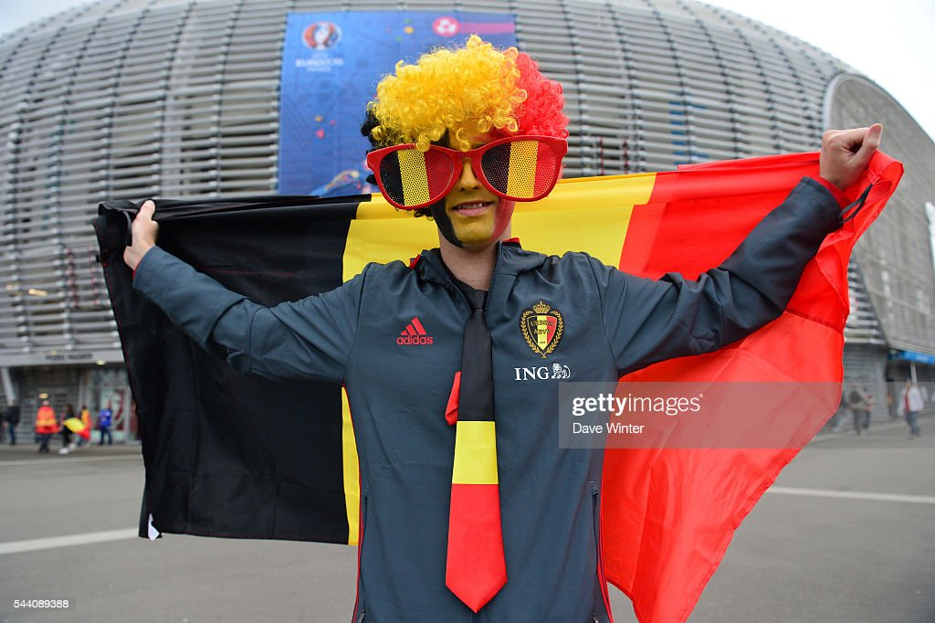 Belgium fans before the UEFA Euro 2016 Quater Final between Wales and Belgium at Stade Pierre-Mauroy on July 1, 2016 in Lille, France.