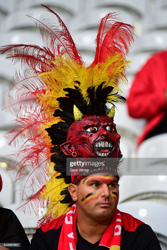 Belgium fans during the UEFA Euro 2016 Quater Final between Wales and Belgium at Stade Pierre-Mauroy on July 1, 2016 in Lille, France.