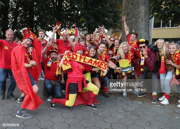 Belgium fans during the UEFA Women's Euro 2017 Group A match between Belgium and Netherlands at Koning Willem II Stadium on July 24 2017 in Tilburg...