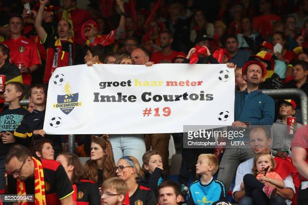 Belgium fans with a banner during the UEFA Women's Euro 2017 Group A match between Belgium and Netherlands at Koning Willem II Stadium on July 24...