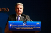 Belgium Finance Minister Didier Reynders attends during a press conference at the G20 Financial Ministers and Central Governors meeting on October 23...