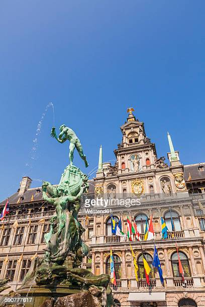 Belgium, Flanders, Antwerp, Grand Place, Town hall and brabo fountain
