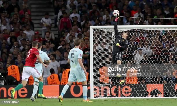 Belgium goalkeeper Thibaut Courtois dives to make a save