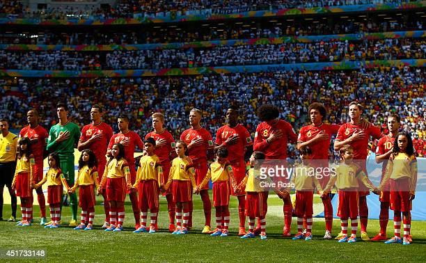 Belgium line up for the National Anthem prior to the 2014 FIFA World Cup Brazil Quarter Final match between Argentina and Belgium at Estadio Nacional...