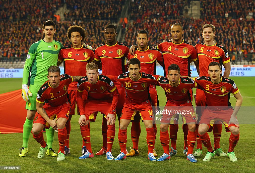 Belgium line up prior to the FIFA 2014 World Cup Qualifier Group A match between Belgium and Macedonia at Stade Roi Baudouis on March 26, 2013 in Brussels, Belgium.