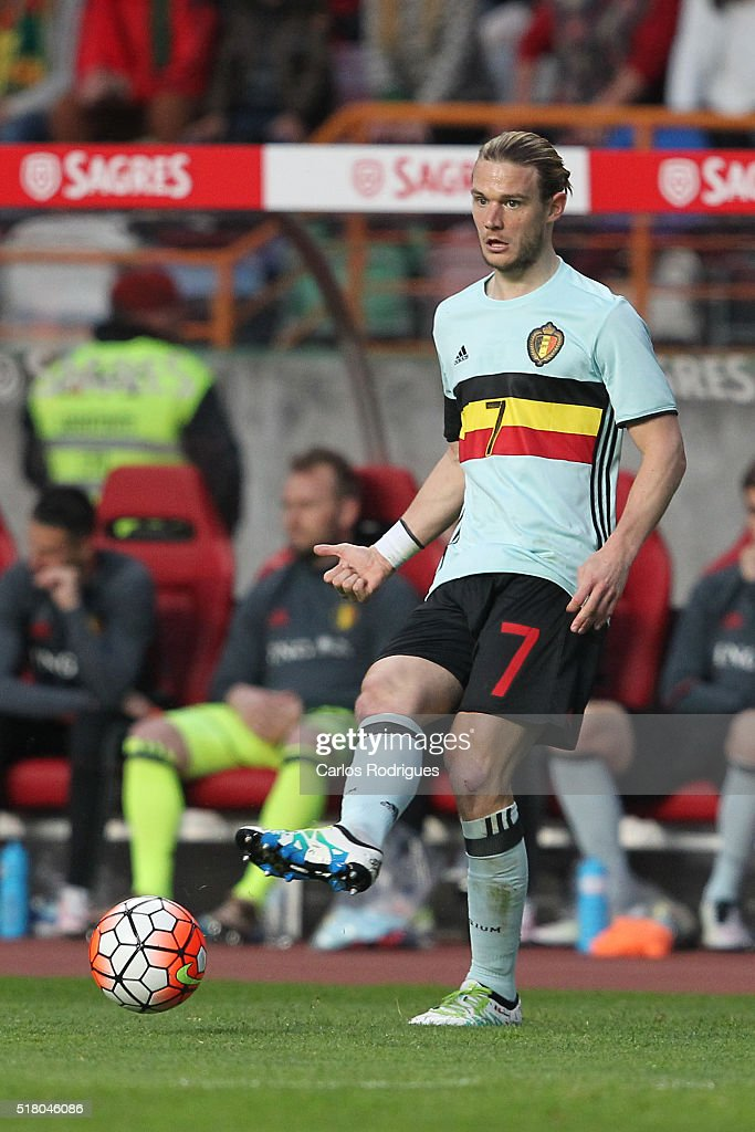 Belgium midfielder <a gi-track='captionPersonalityLinkClicked' href=/galleries/search?phrase=Guillaume+Gillet&family=editorial&specificpeople=4542498 ng-click='$event.stopPropagation()'>Guillaume Gillet</a> during the match between Portugal and Belgium Friendly International at Estadio Municipal de Leiria on March 29, 2016 in Lisbon, Portugal.
