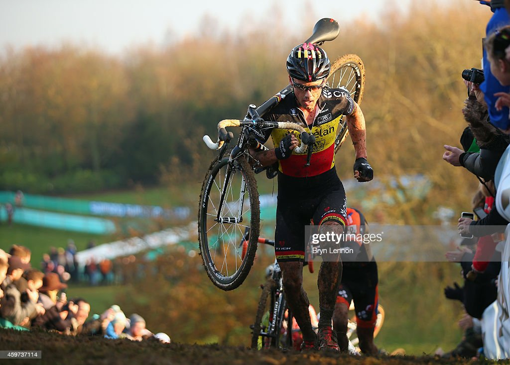 Belgium National Champion <a gi-track='captionPersonalityLinkClicked' href=/galleries/search?phrase=Sven+Nys&family=editorial&specificpeople=853956 ng-click='$event.stopPropagation()'>Sven Nys</a> in action during the Eliute Men's race at the UCI Cyclocross World Cup in Campbell Park on November 29, 2014 in Milton Keynes, England.