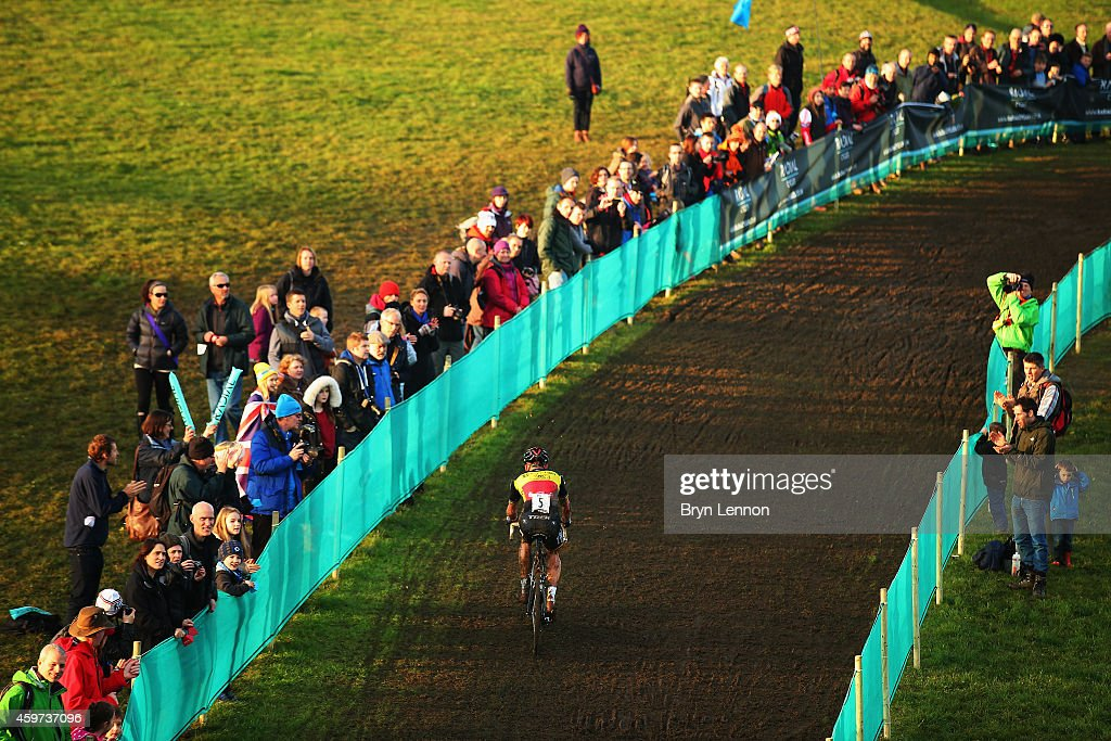Belgium National Champion <a gi-track='captionPersonalityLinkClicked' href=/galleries/search?phrase=Sven+Nys&family=editorial&specificpeople=853956 ng-click='$event.stopPropagation()'>Sven Nys</a> in action during the Eliute Mens's race at the UCI Cyclocross World Cup in Campbell Park on November 29, 2014 in Milton Keynes, England.