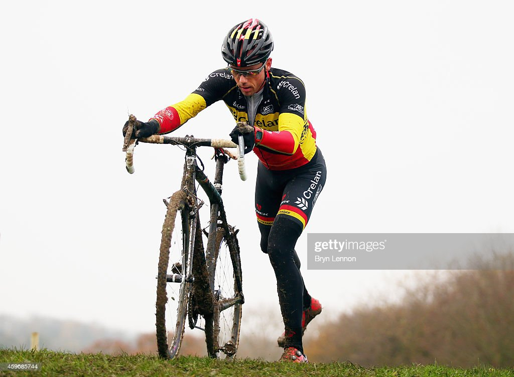 Belgium National Champion <a gi-track='captionPersonalityLinkClicked' href=/galleries/search?phrase=Sven+Nys&family=editorial&specificpeople=853956 ng-click='$event.stopPropagation()'>Sven Nys</a> in action during training for the UCI Cyclocross World Cup in Campbell Park on November 28, 2014 in Milton Keynes, England.