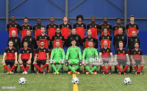 Belgium national football team players pose for an official photo ahead of the upcoming Euro 2016 UEFA European Championship in Genk on June 2...