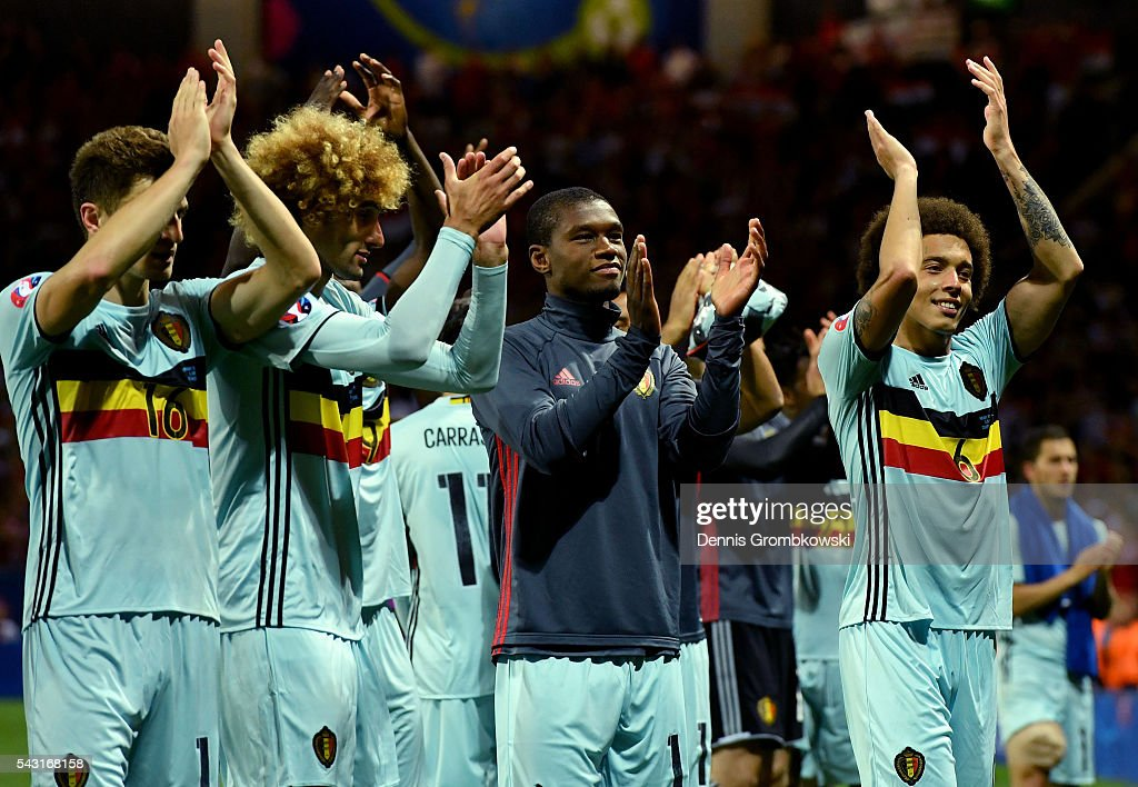Belgium players applaud supporters after their 4-0 win after the UEFA EURO 2016 round of 16 match between Hungary and Belgium at Stadium Municipal on June 26, 2016 in Toulouse, France.