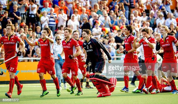 Belgium players celebrate after reaching the final after shootouts against Germany during the hockey semi final GermanyBelgium at the Rabo EuroHockey...