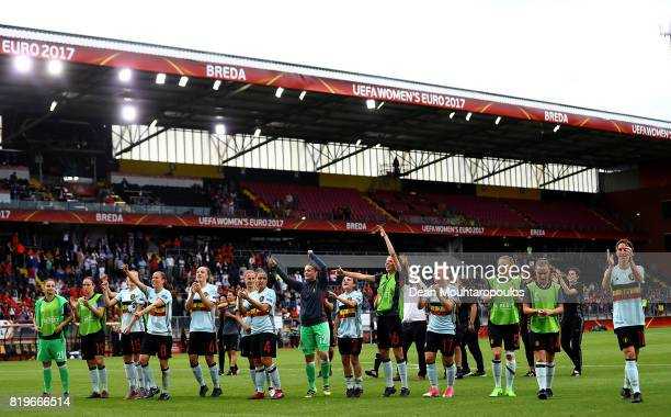 Belgium players celebrate at the final whistle during the UEFA Women's Euro 2017 Group A match between Norway and Belgium at Rat Verlegh Stadion on...