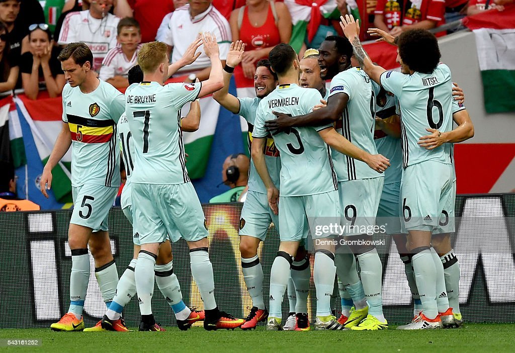 Belgium players celebrate the opening goal by Toby Alderweireld (obscured) during the UEFA EURO 2016 round of 16 match between Hungary and Belgium at Stadium Municipal on June 26, 2016 in Toulouse, France.