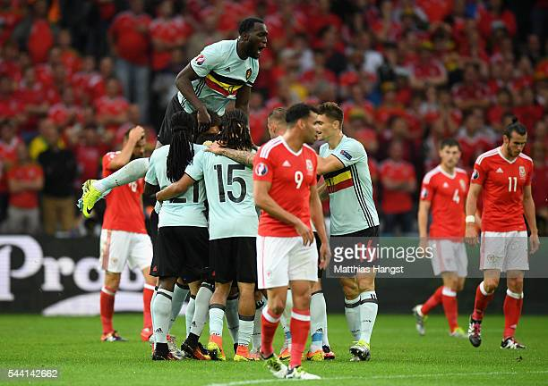 Belgium players celebrate their team's first goal by Radja Nainggolan during the UEFA EURO 2016 quarter final match between Wales and Belgium at...