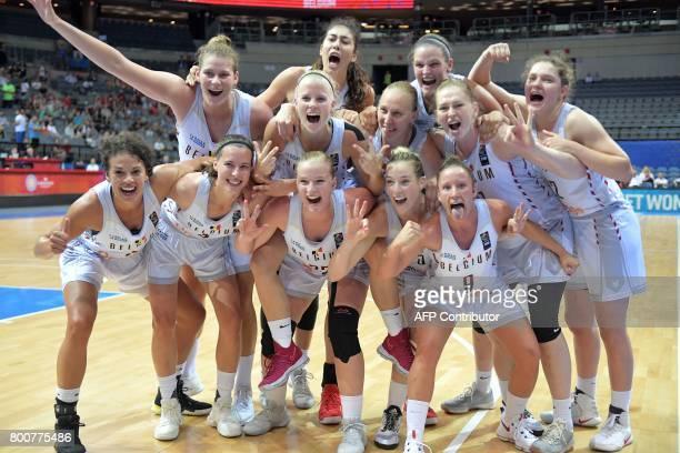 Belgium' players celebrate winning the FIBA EuroBasket 2017 women's bronze medal match between Belgium and Greece on June 25 2017 in Prague Czech...
